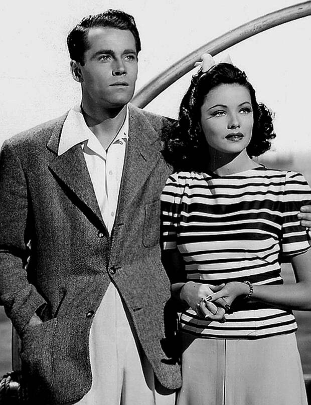 """Джин Тирни и Генри Фонда в романтической комедии """"Кольца на ее пальцах"""".1942 год."""
