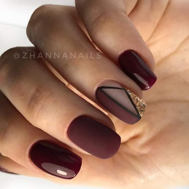 темно-бордовые ногти с геометрией