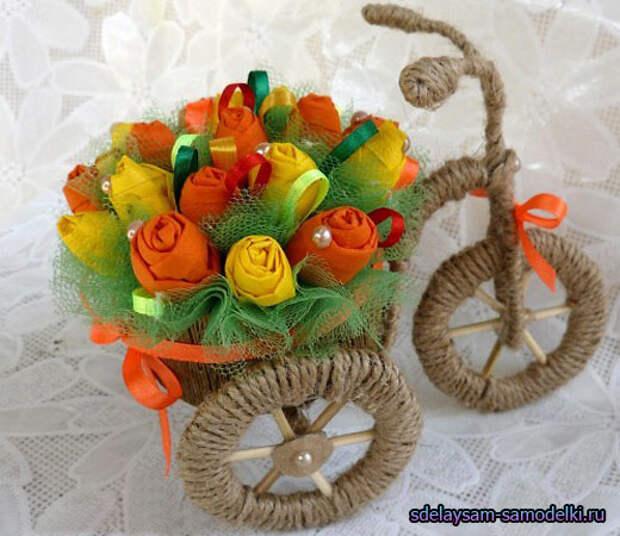 Поделка из шпагата и проволоки, велосипед ваза
