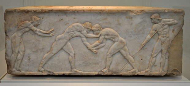 Борцы. Рельеф. Около 510 года до н.э. Национальный археологический музей, Афины. - Большие игры Древней Греции | Warspot.ru