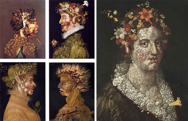 Работы Джузеппе Арчимбольдо: примеры аллегорий из циклов 1560-х годов «Времена года» и «Четыре элемента». Вверху слева — «Воздух», внизу слева — «Лето», вверху справа — «Весна», внизу справа «Огонь» / «Флора» (1591)