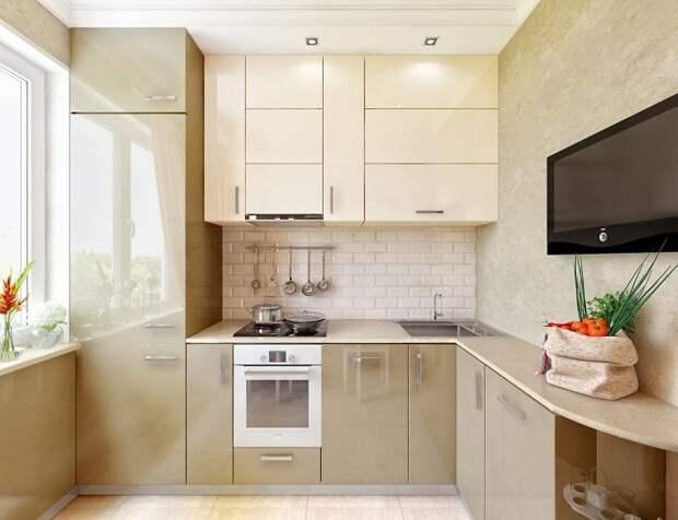 Освещение кухни с помощью точечных светильников.