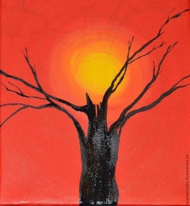 Рисуем дерево на закате