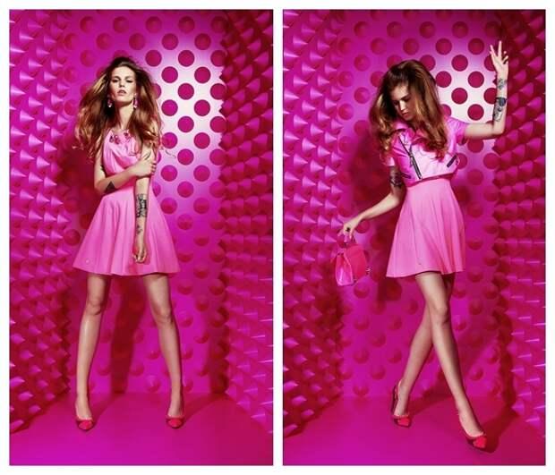 Ярко-розовое модное платье для лета 2015, фото