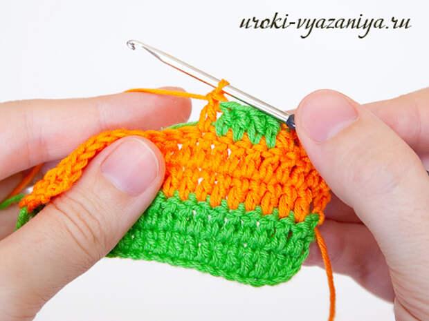 вязание крючком смена цвета
