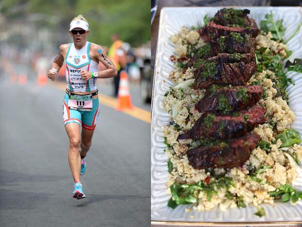 Каждый день триатлонистка Миранда Карфре проплывает 4 километра, пробегает 11 километров и почти 90 километров проезжает на велосипеде. Спортсменка любит вкусную и здоровую пищу, и особенно ту, на чье приготовление уходит не больше 20 минут. Салат из лебеды со стейком, по её словам, не содержит клейковины и идеально подходит для триатлонистов.