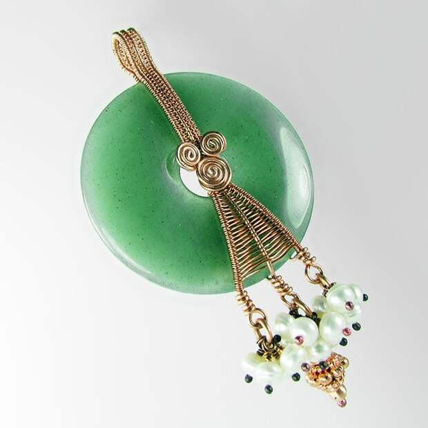 Wisdom of the Wicked - Aventurine, Freshwater Pearl and Copper Pendant