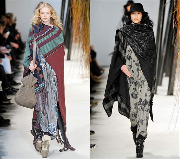 ейп-шарф шьется из двух кусков ткани, которые стачиваются примерно до середины деталей (свободные концы будут служить для драпировки шарфа).