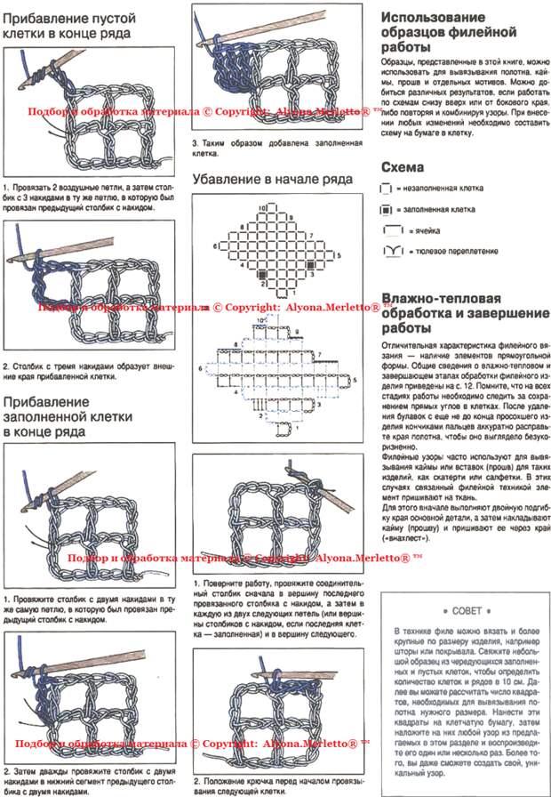 Филейное вязание крючком. Схемы