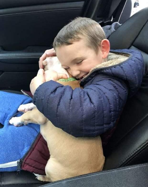 Мальчик обнимает щенка