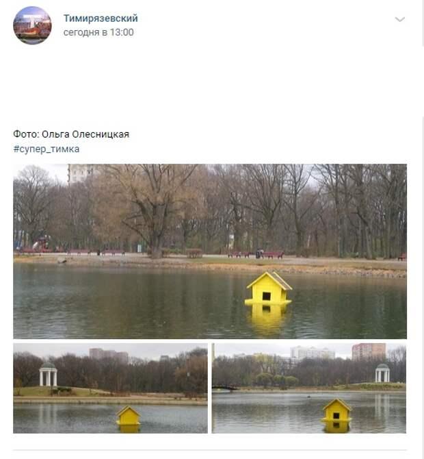 Фото дня: в парке «Дубки» спустили плавучие домики
