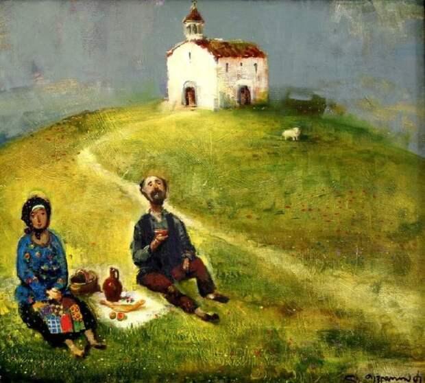 У церкви. Автор: Ладо Тевдорадзе.