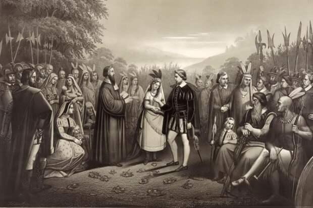 Свадьба Матоаки и Джона Рольфа
