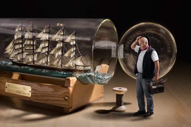 Корабль в бутылке: как засовывают