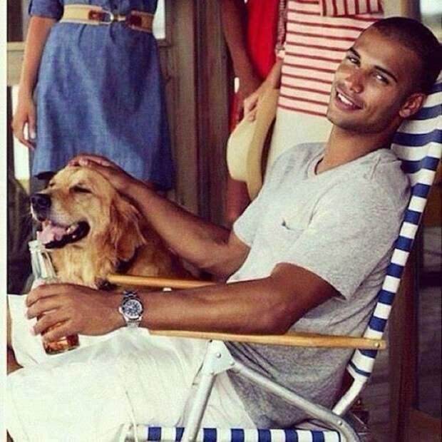 Брутальные мужчины и их очаровательные животные  животные, мужчины, собака