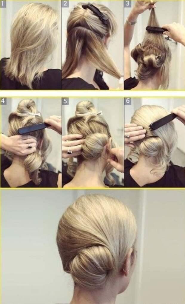 Как сделать необычную причёску- пучок