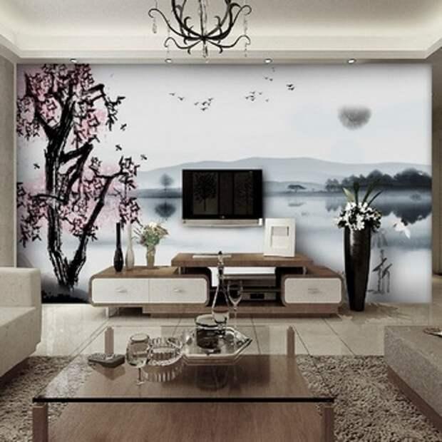 китайские фотообои в гостиной