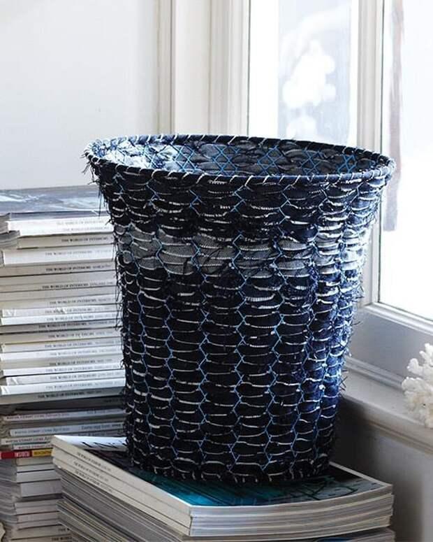 Джинсовая мусорная корзина