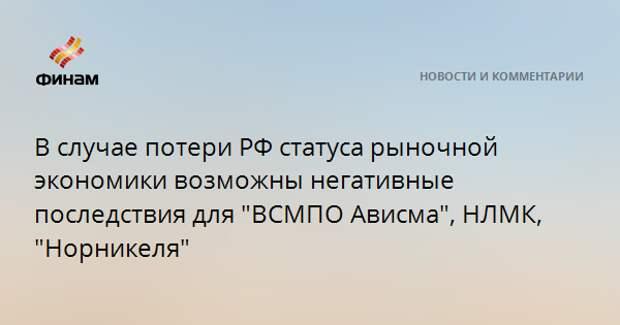 """В случае потери РФ статуса рыночной экономики возможны негативные последствия для """"ВСМПO Ависма"""", НЛМК, """"Норникеля"""""""