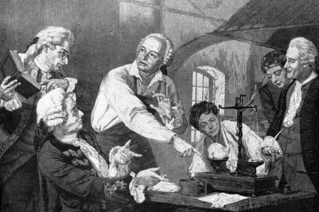 Михаил Ломоносов в химической лабаратории
