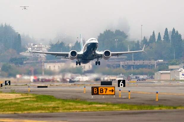 A Boeing 737 MAX jet takes off on a test flight from Boeing Field in Seattle in Sept.