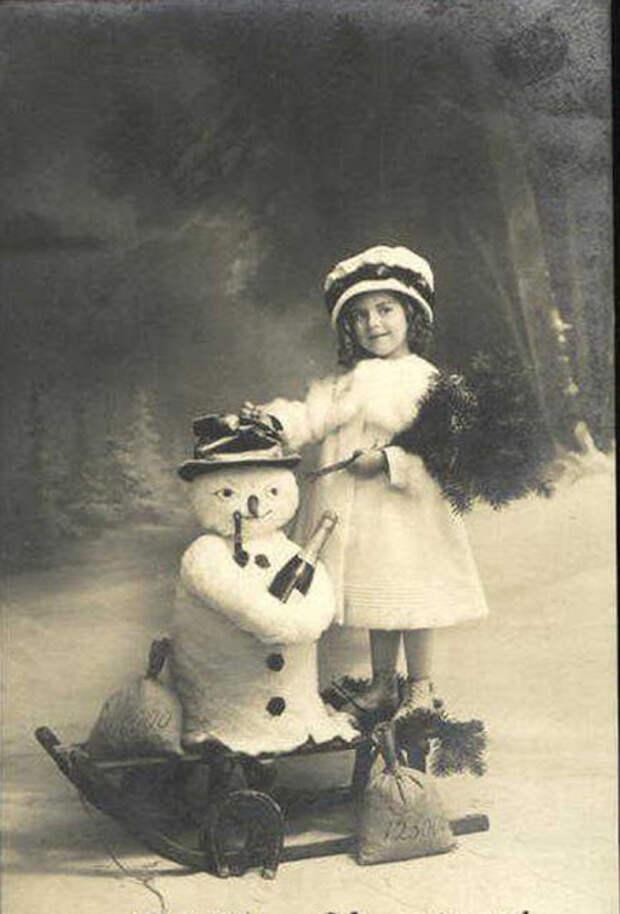 Такие разные снеговики. Винтажные фото детей и снеговиков.