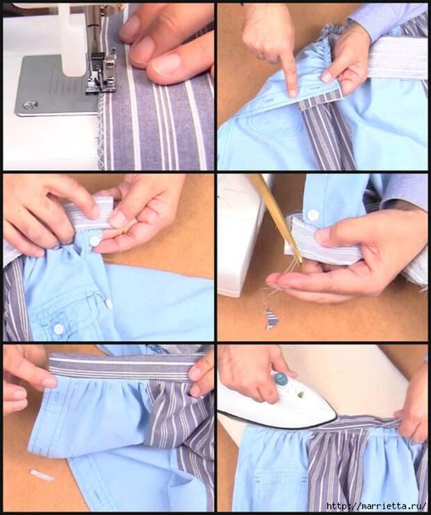 Юбка с карманами из двух мужских рубашек. Видео мастер-класс (6) (519x620, 196Kb)