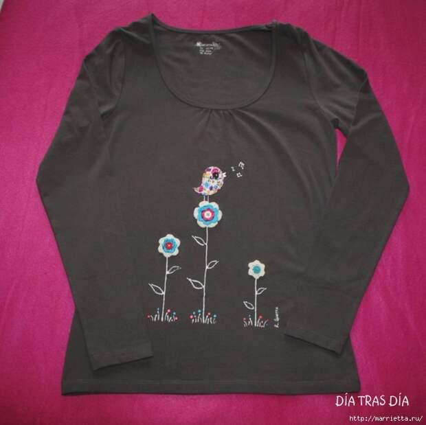 Аппликация с вышивкой на детских футболках (28) (700x699, 252Kb)