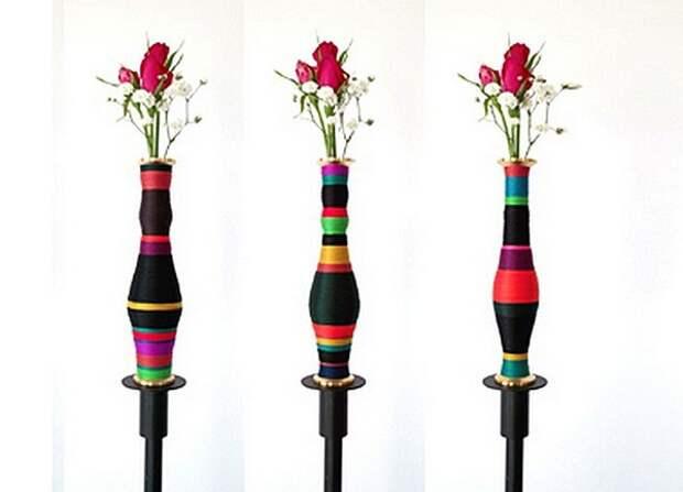Hidden Shapes, дизайнерские вазы из катушек с ниткамиShapes, дизайнерские вазы из катушек с нитками