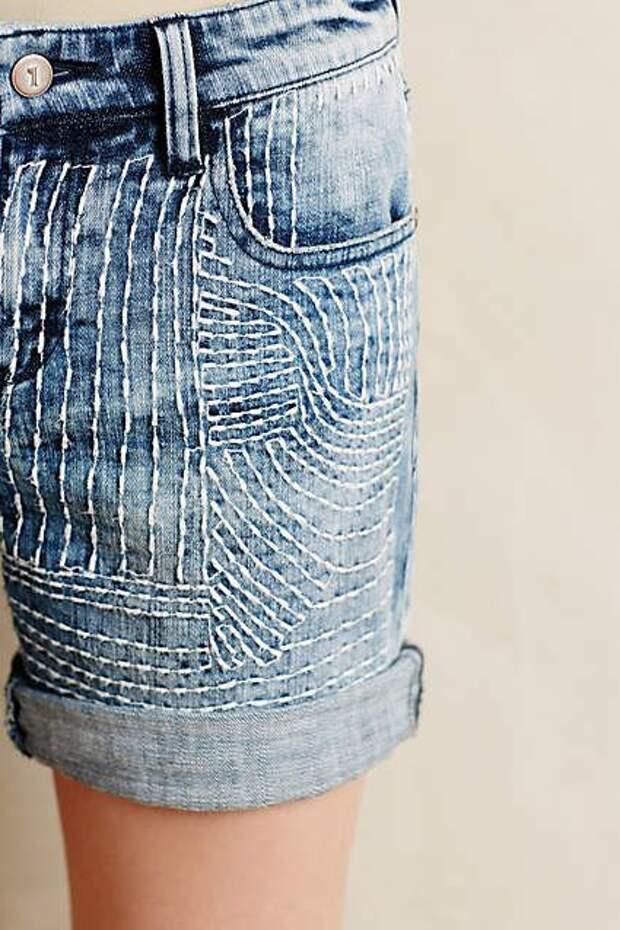 Простая вышивка на шортах