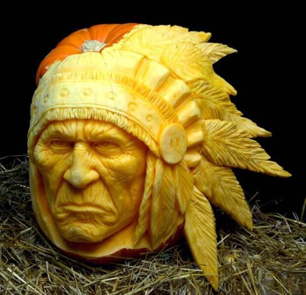 Карвинг - Голова индейца из тыквы