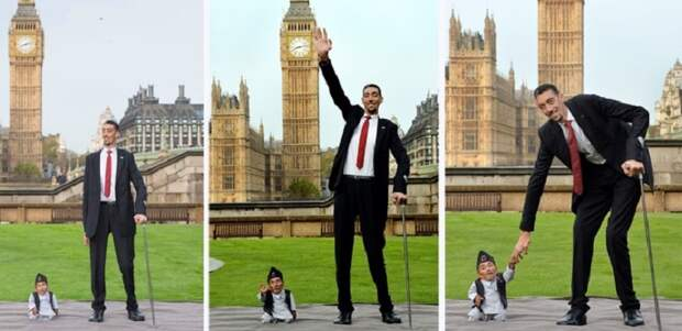 В Лондоне встретились самый высокий и самый низкий мужчины в мире