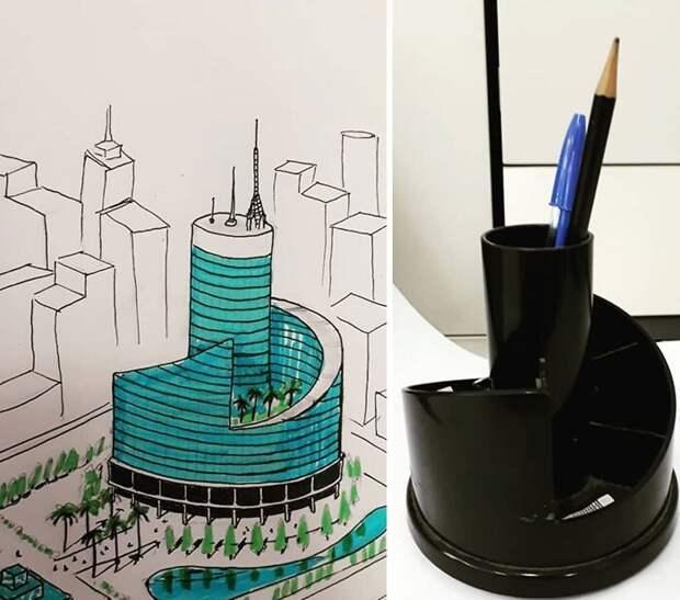 Архитектор из Бразилии рисует сюрреалистические здания, вдохновляясь привычными предметами