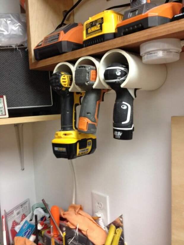 Удобное размещение строительных принадлежностей. /Фото: i.pinimg.com