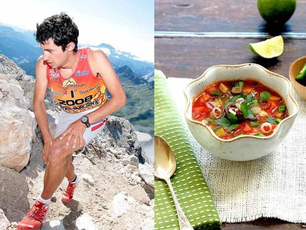 В 2008 году 20-летний испанец Килиан Жорне победил в одном из сложнейших в мире марафонов на длинные дистанции — 167-километровом «Ultra-Trail du Mont Blanc». После этого последовала еще целая серия побед. На тренировки у Килиана уходит в среднем 6 часов в день. Чтобы освежиться и восстановить силы он предпочитает холодный гаспачо из томатов, перца и огурцов.