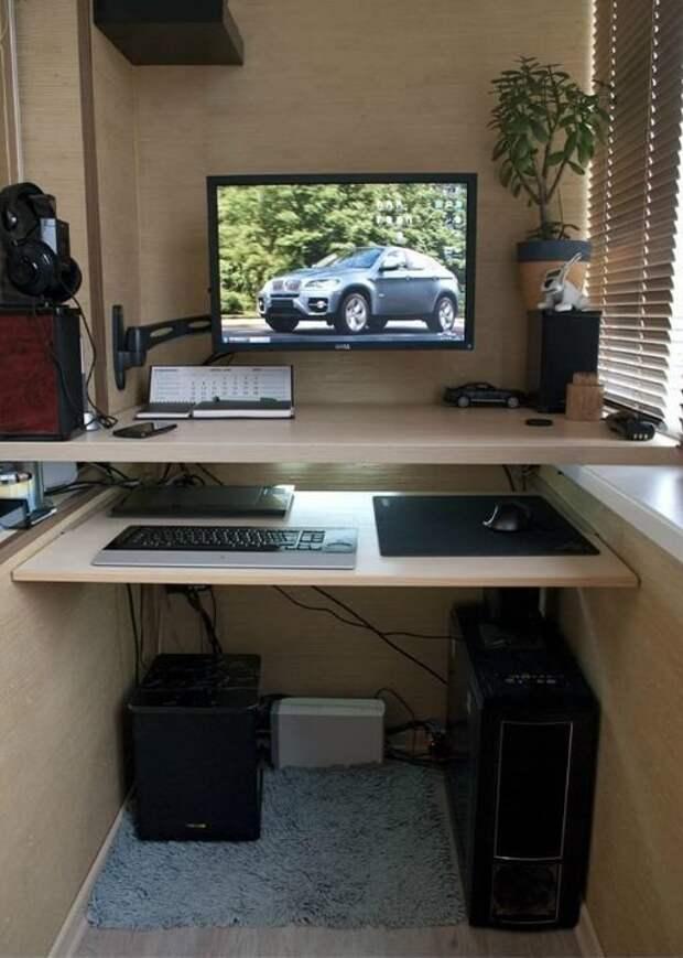 Можно организовать себе рабочее место - и вы уединитесь и места в комнатах будет больше Фабрика идей, балкон, дизайн, идеи, маленький, экономия пространства