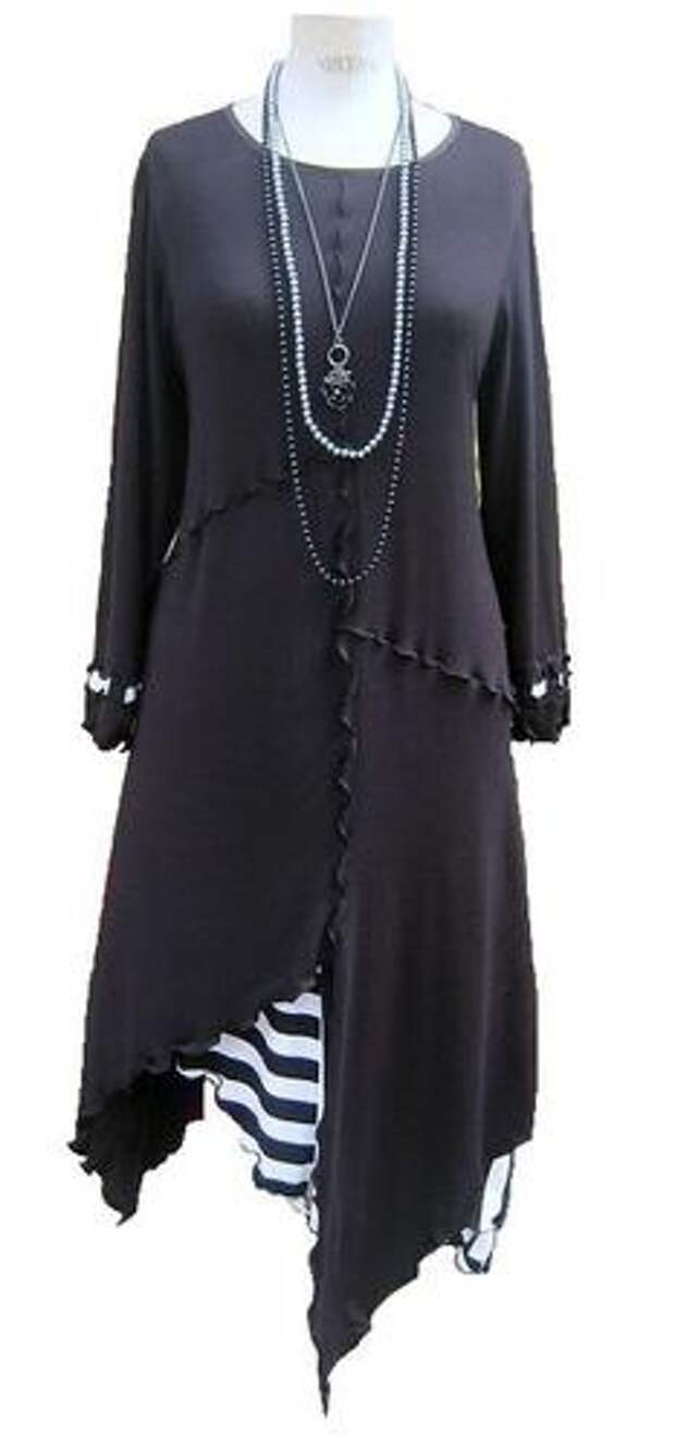 Quirky Lagenlook Black with stripe long Tunic/Top/Dress *Made in England* | eBay  this style would look quite nice on May,Julia, Kathy, Jenny OR Truday
