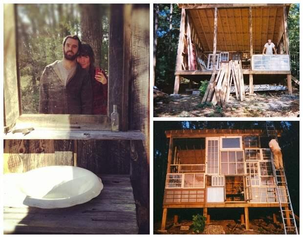 Супруги Ник Олсон и Лайла Хорвиц создали домик на опушке леса из старых оконных рам (The Sunset House, США).   Фото: huckberry.com.
