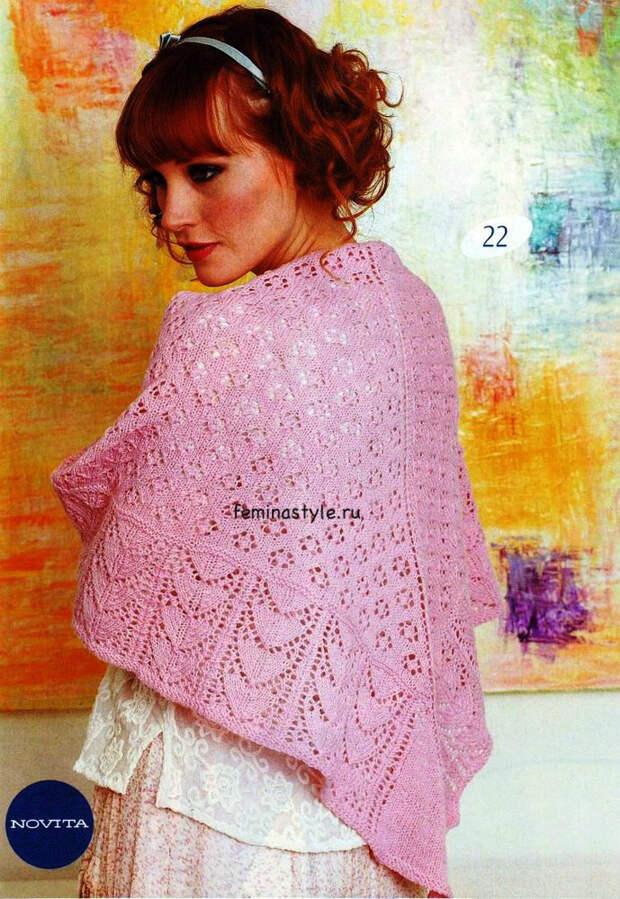 Вязание спицами ажурной шали