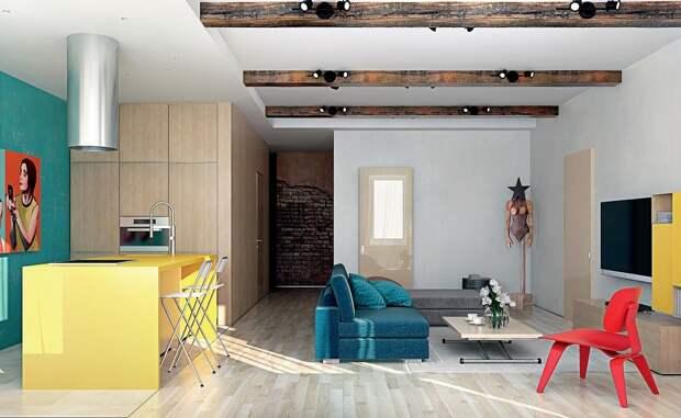 Потолочные фальшбалки оптически выравнивают общую высоту потолка в студии
