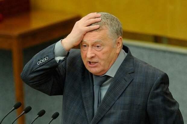 Жириновский встал на четвереньки на сцене