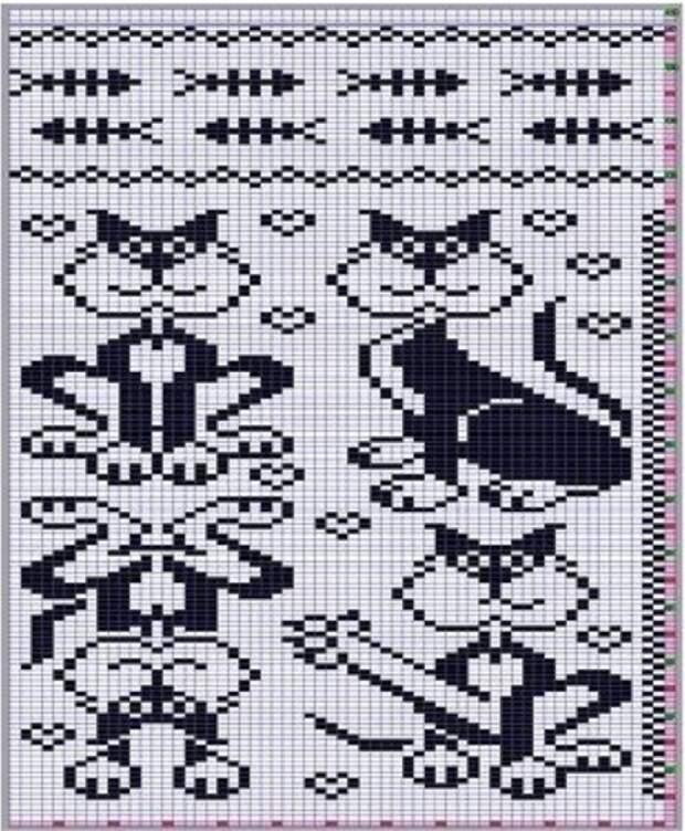 Узоры котов спицами