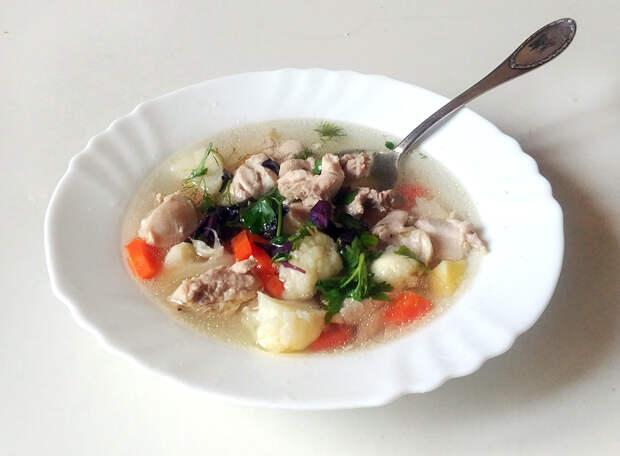 Рецепт вкусного супа из курицы и цветной капусты