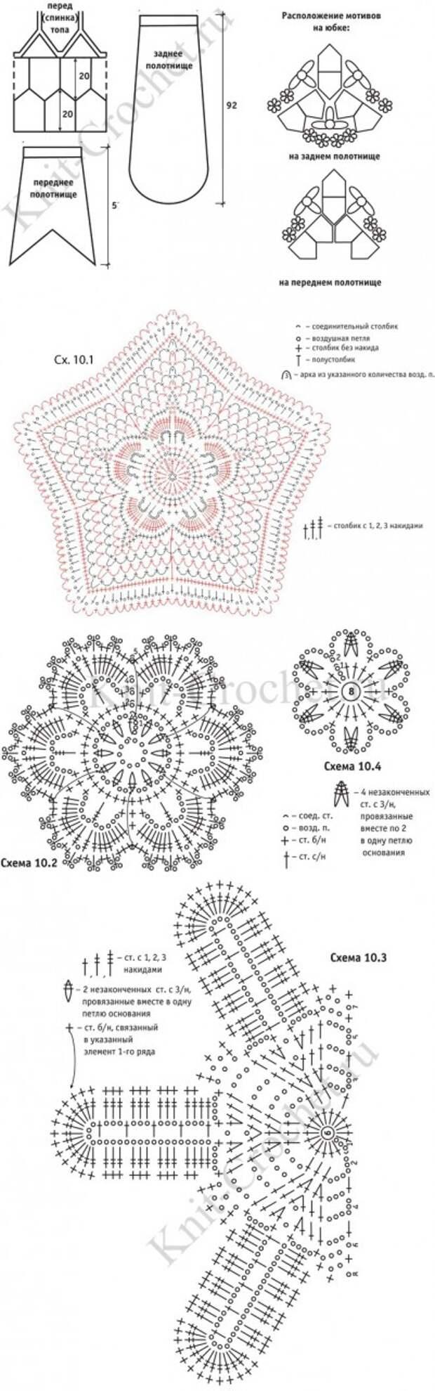 Выкройка, схемы узоров и обозначения для вязания крючком женского нарядного костюма.