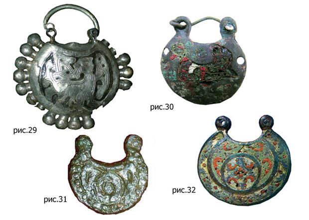 Дутый колт из серебра с чернью, (рис. 29). / Медные колты, (рис. 30-32).