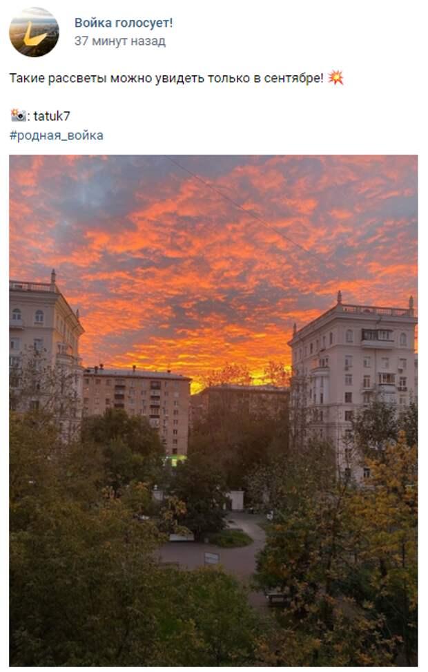 Фото дня: огненный рассвет над Войковским районом