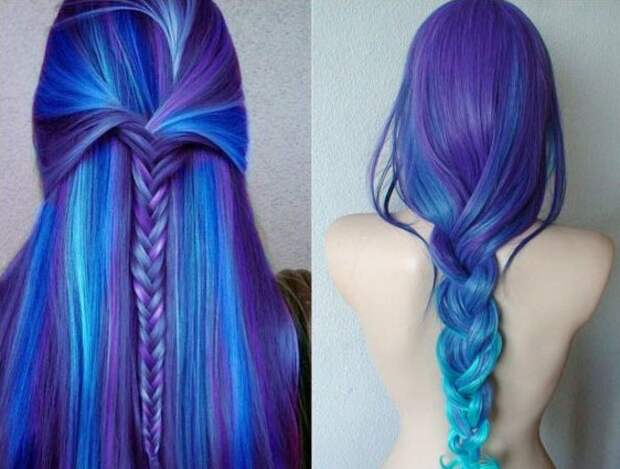 синие и фиолетовые волосы