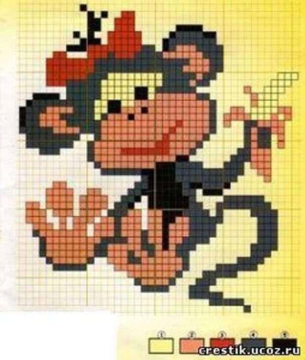 вышивка обезьянки