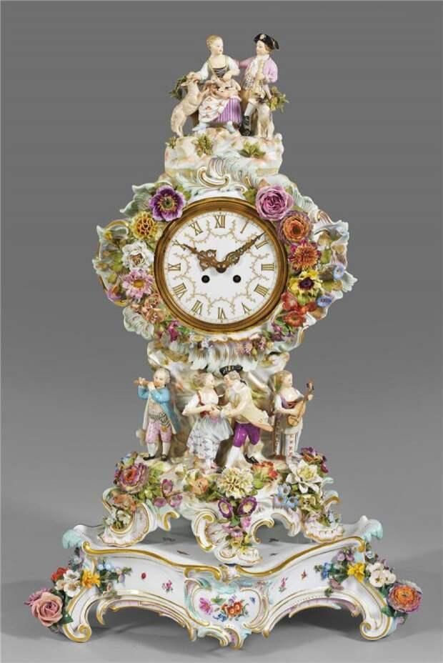 антикварный фарфор часы - 11