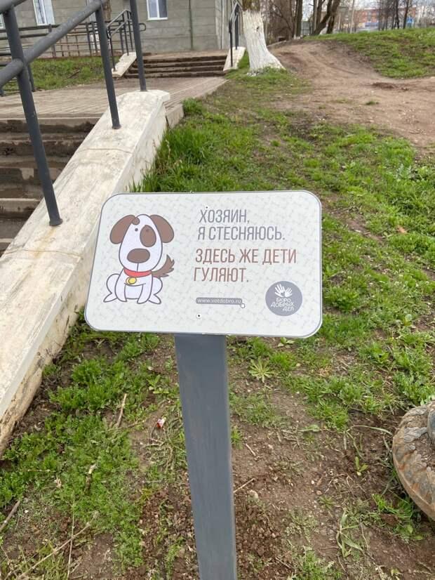 Оригинальные таблички появились в местах выгула собак в Воткинске
